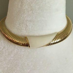 Gold Tone Monet Chocker Necklace With White Enamel